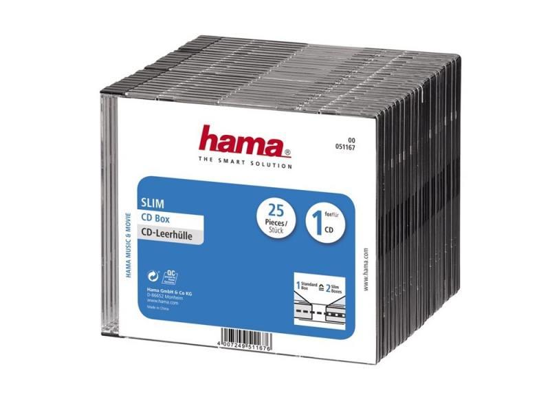 Коробка HAMA для 1 CD прозрачный/черный H-51167 25 шт hama hama h 118102