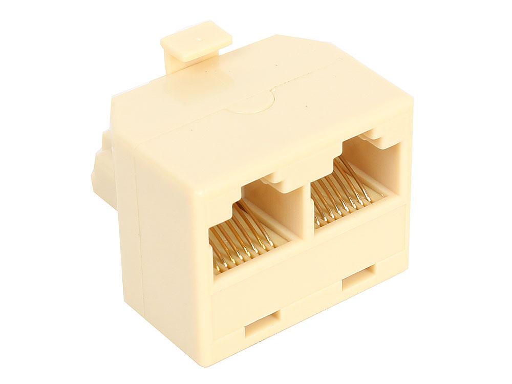 Переходник-разветвитель RJ-45 8P8C Plug - 2-8P8C Jack VCOM VTE7714 переходник разветвитель hyperline spl yt4 e2 e2 rj 45 4pr t568a t568b 2x2pr 10base t