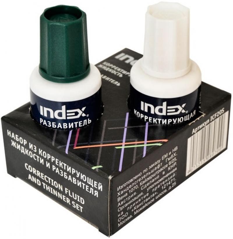 цена на Корректирующая жидкость Index ICF20S 20 мл + разбавитель 20 мл