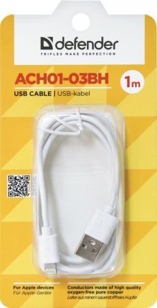 Кабель Defender ACH01-03BH USB-Lightning 1.0м белый 87479 цена и фото