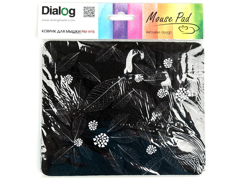 Коврик для мыши Dialog PM-H15 leafs черный с рисунком листья коврик противовибрационный shahintex 62х55см черный