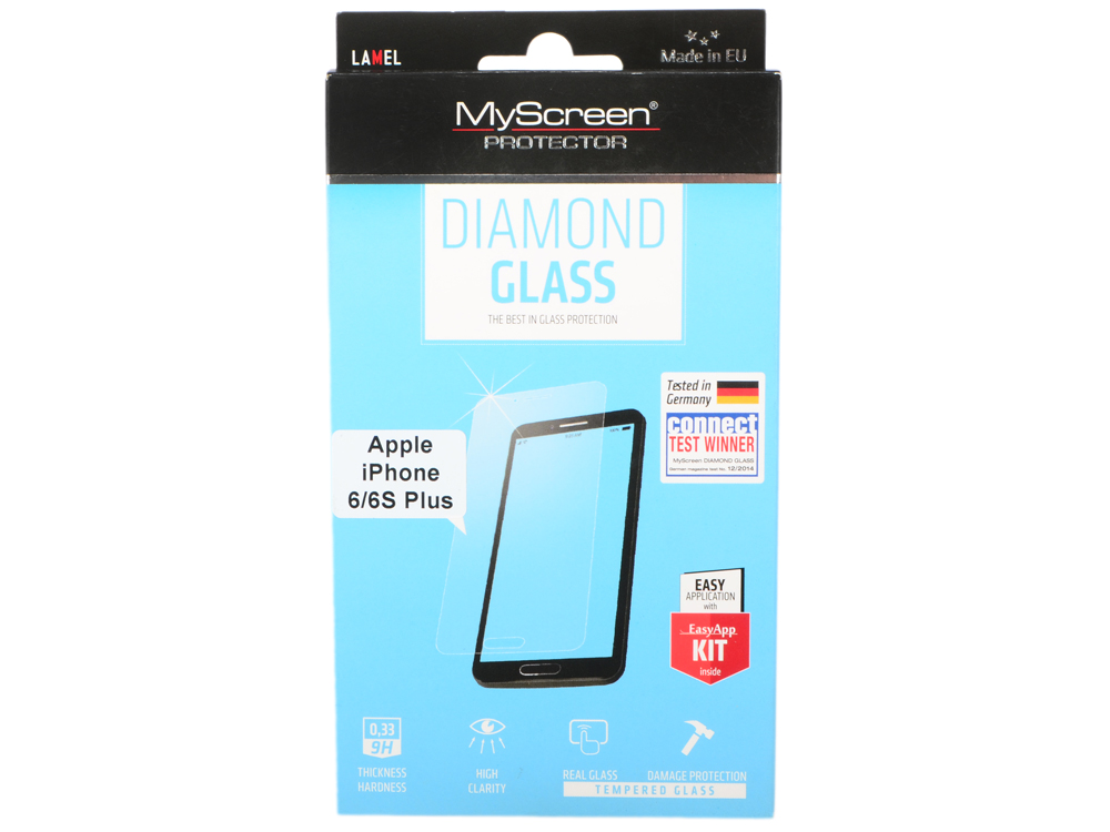 пленка Защитная Lamel Закаленное стекло MyScreen DIAMOND Glass EA Kit iPhone 6/6S Plus пленка защитная lamel 3d закаленное защитное стекло myscreen 3d diamond glass ea kit black iphone x