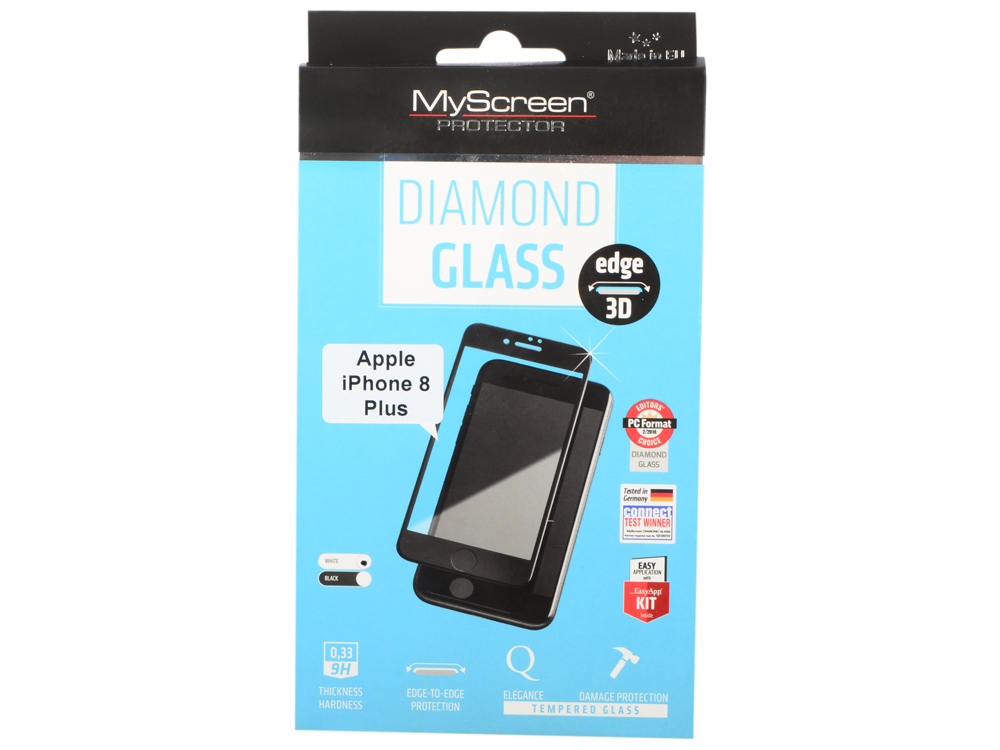 Пленка защитная lamel 3D закаленное защитное стекло MyScreen 3D DIAMOND Glass EA Kit White iPhone 8P защитное стекло onext philips s337