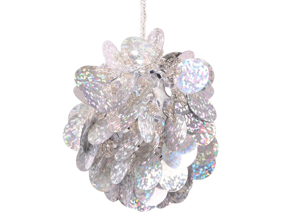 Елочные украшения Winter Wings Шар с лепестками 6 см 1 шт серебро N06911 цены