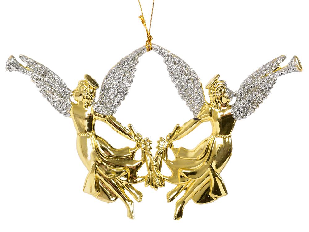 Украшение елочное Ангелочки, 15х10 см, золотой украшение елочное шар красный с блестками 13 см красный полимерный материал