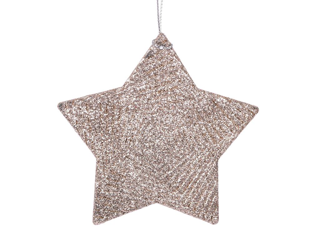 Украшение елочное Звезда, 10 см, пластик, в пакете украшение елочное подвеска блестящая крошка 2 шт в прозрачном пакете 8 см 4 цв белый красны