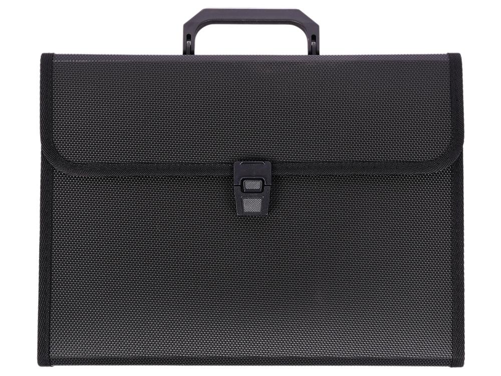 Папка - портфель с ручкой на 13 отделений, с окантовкой, ф.А4, черная цена и фото