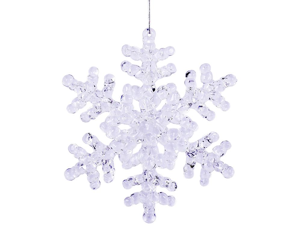 Украшение елочное Снежинка, 1 шт,12 см, пластик украшение елочное подвеска блестящая крошка 2 шт в прозрачном пакете 8 см 4 цв белый красны