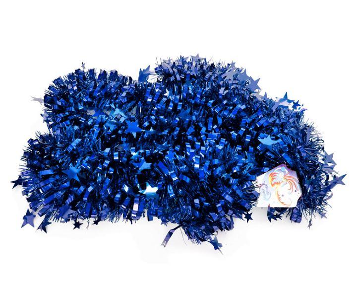 лучшая цена Мишура одноцветная, синяя, блестящая, 100 мм, длина 2 м