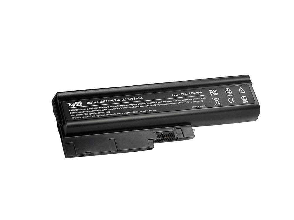 Аккумулятор для ноутбука TopON TOP-T60 для IBM Lenovo ThinkPad R60, R61, T60, T61, Z60, Z61, R500, T500, W500 Series - 10.8V 4400mAh цена и фото