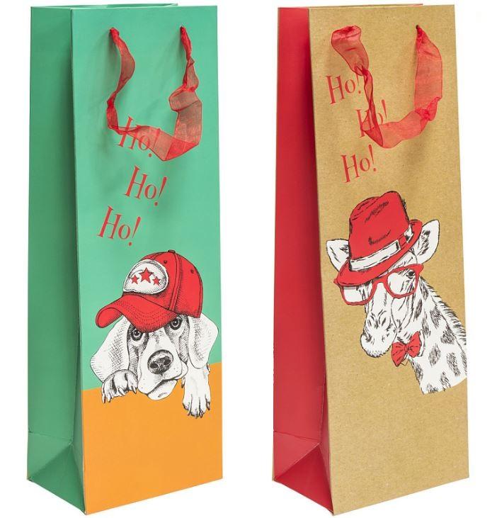 Пакет подарочный ламинированный ЛЮКС, 130*360*87 мм, под бутылку, 2 вида пакет подарочный winter wings n13297 260х324х127 мм