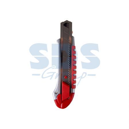 Нож с сегментированным лезвием 25 мм, металлический обрезиненный корпус, с дополнительным замком на