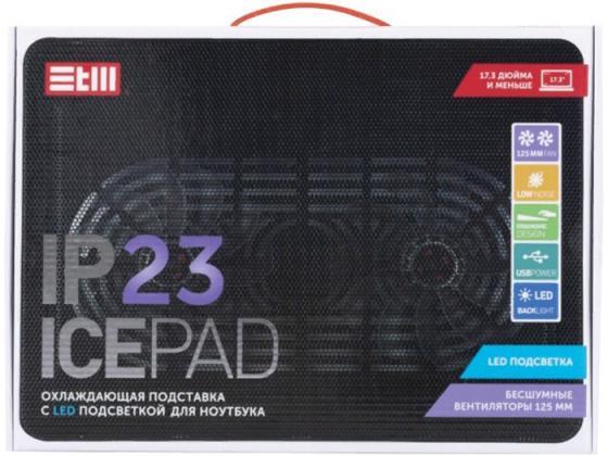 цена на Подставка для ноутбука STM IP23 Black 17,3, 2x(125x125),plastic+metal