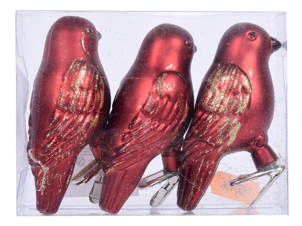 цены Набор украшений елочных ПТИЧКИ, 8 см, 3 шт в ПВХ коробке, пластик