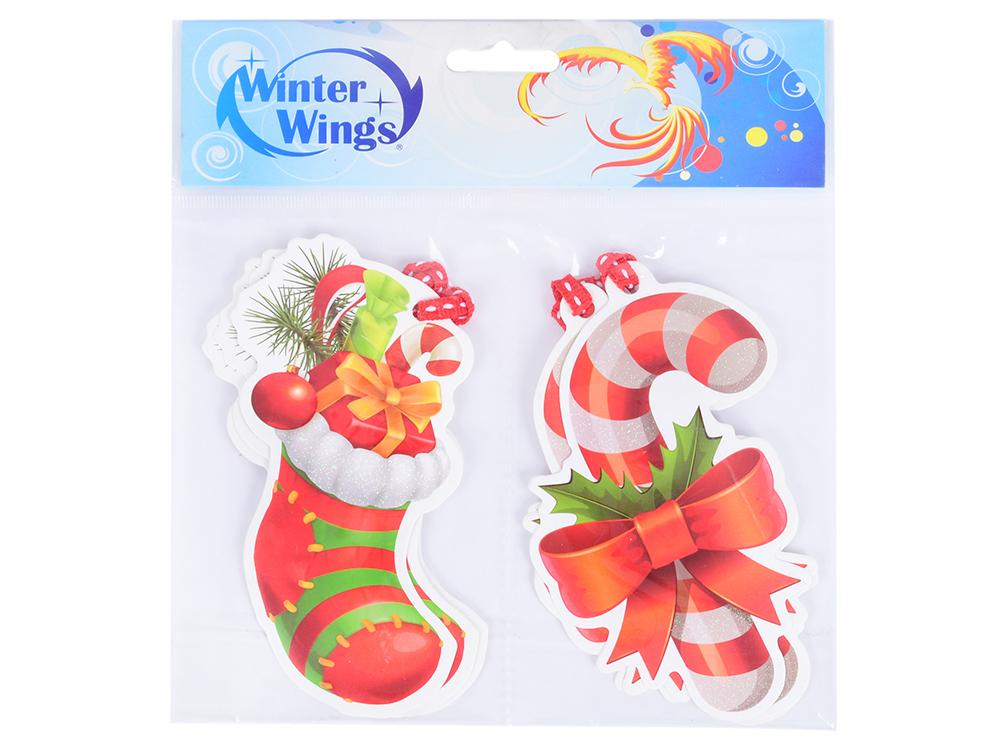 Набор бирок для декорирования подарков НОВЫЙ ГОД, с тесьмой, 8*12,5 см, 6 шт. в пакете, бумага наклейка winter wings панно гелевая новый год 20х20 см n09302
