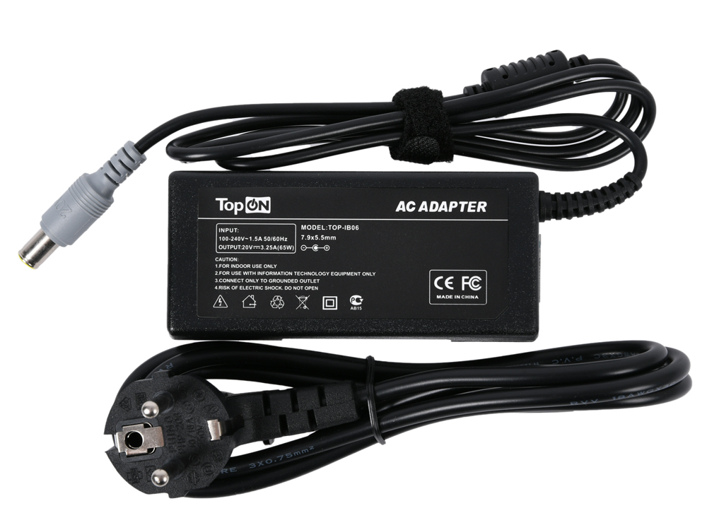Зарядное устройство для ноутбука TopON TOP-IB06 Lenovo B590, B580, B490, ThinkPad Edge, 20V 3.25A 65W. Коннектор 7,9 на 5,5 мм