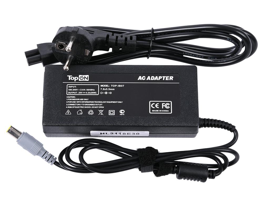 Зарядное устройство для ноутбука TopON TOP-IB07 Lenovo ThinkPad Z61, X301, W530, T60, R500, L520, 3000 C, N, V Series. 20V 4.5A зарядное