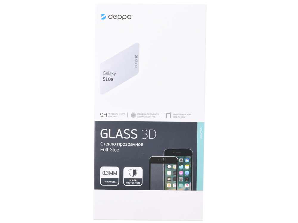 Защитное стекло 3D Deppa Full Glue для Samsung Galaxy S10e, 0.3 мм, черная рамка стекло защитное solomon honor 10 lite 3d full glue черная рамка