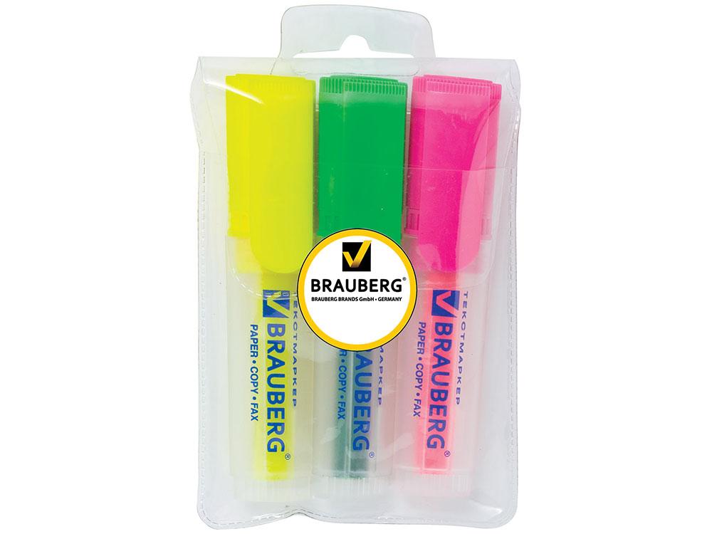"""Текстмаркеры BRAUBERG """"FLUO"""", набор 3 шт., прозрачный корпус, скошенный 1-5 мм (желтый, зеленый, розовый)"""