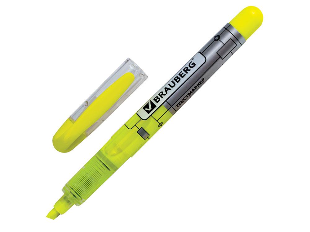 Текстмаркер BRAUBERG Fluo Color, жидкие чернила, круглый корпус, скошенный наконечник 1-3 мм, лимонный текстмаркер centropen 8542 1р 1 мм розовый