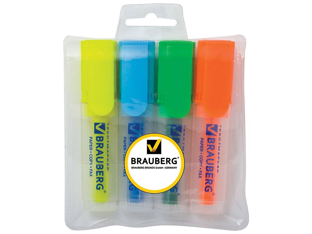 """Текстмаркеры BRAUBERG """"FLUO"""", набор 4 шт., прозрачный корпус, скошенный 1-5 мм (голубой, желтый, зеленый, оранжевый)"""