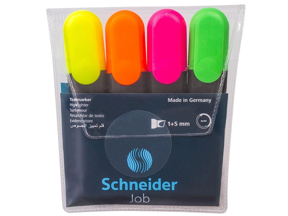 Текстмаркеры SCHNEIDER, набор 4 шт., Job, скошенный наконечник 1-5 мм