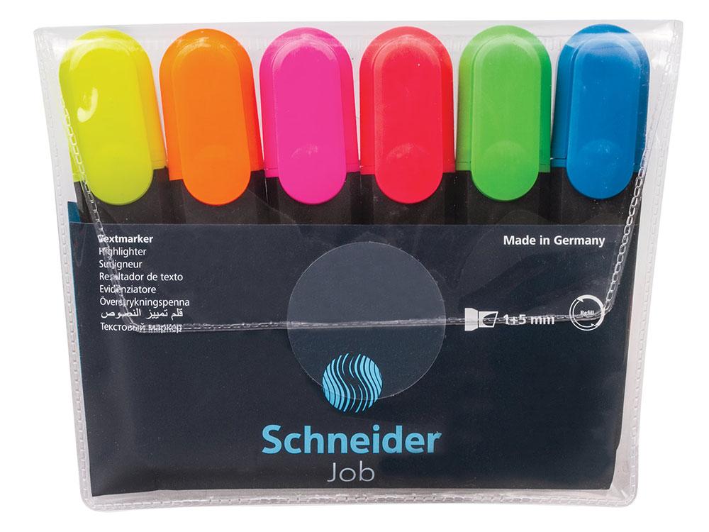 Текстмаркеры SCHNEIDER, набор 6 шт., Job, скошенный наконечник 1-5 мм, ассорти
