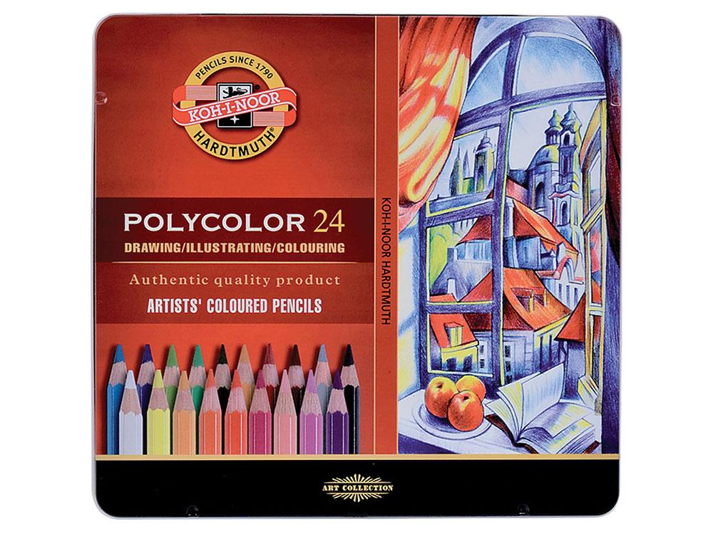"""Карандаши цветные художественные KOH-I-NOOR """"Polycolor"""", 24 цвета, 3,8 мм, металлическая коробка"""