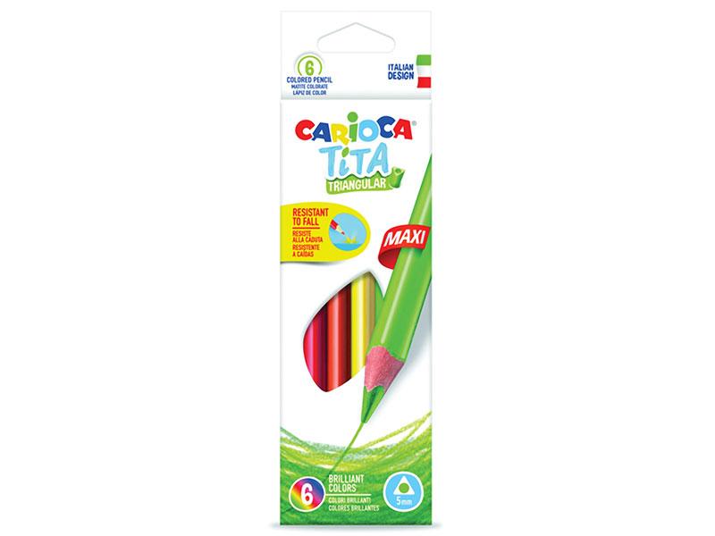 Карандаши цветные утолщенные CARIOCA Tita Triangular Maxi, 6 цветов, пластиковые, трехгранные цена