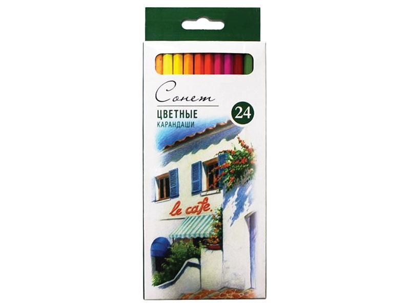 Карандаши цветные профессиональные Сонет, 24 цвета, в картонной упаковке с европодвесом профессиональные оттеночные шампуни красного цвета купить
