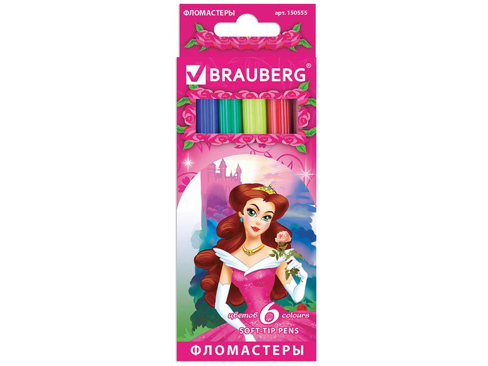 Фломастеры BRAUBERG Rose Angel, 6 цветов, вентилируемый колпачок, картонная упаковка фломастеры brauberg rose angel 18 цветов вентилируемый колпачок картонная упаковка