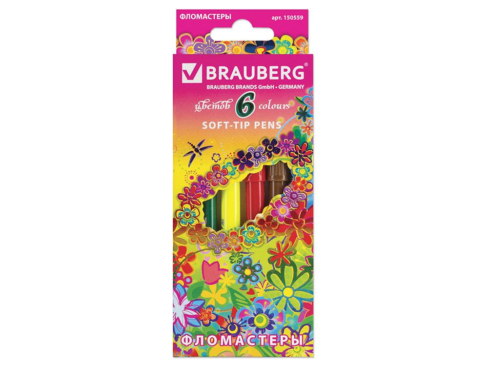 Фломастеры BRAUBERG Blooming flowers, 6 цветов, вентилируемый колпачок, картонная упаковка фломастеры brauberg rose angel 18 цветов вентилируемый колпачок картонная упаковка