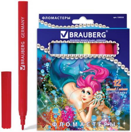Фломастеры BRAUBERG Морские легенды, 12 цветов, вентилируемый колпачок, картонная упаковка фломастеры brauberg rose angel 18 цветов вентилируемый колпачок картонная упаковка