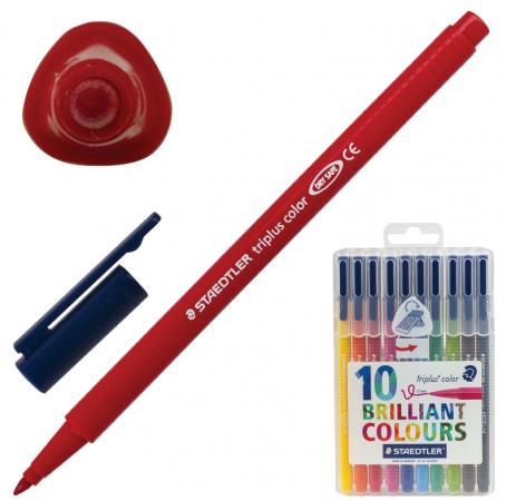 Набор фломастеров Staedtler Triplus 3 мм 10 шт ручка капиллярная staedtler triplus broadliner 338 box338 30 цвет чернил голубой 10 шт