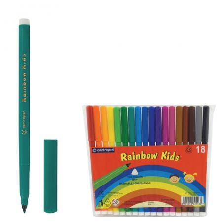 Набор фломастеров Centropen Rainbow Kids 7550/18 1 мм 18 шт 151181 набор смываемых фломастеров centropen 18 цветов
