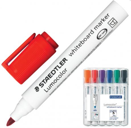 Набор маркеров для доски Staedtler Lumocolor 2 мм 6 шт оранжевый красный фиолетовый синий зеленый набор банок для пищевых продуктов цвет зеленый оранжевый бордовый 3 шт