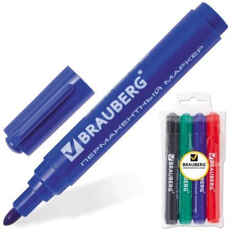 Набор маркеров перманентных BRAUBERG 150299 3 мм 4 шт синий зеленый черный красный набор стяжек hyperline gt 160m 160x2 5мм 500шт 100 белый 100 красный 100 зеленый 100 желтый 100 черный