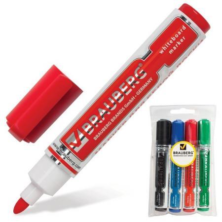 Набор маркеров для доски BRAUBERG 150491 5 мм 4 шт синий зеленый черный красный