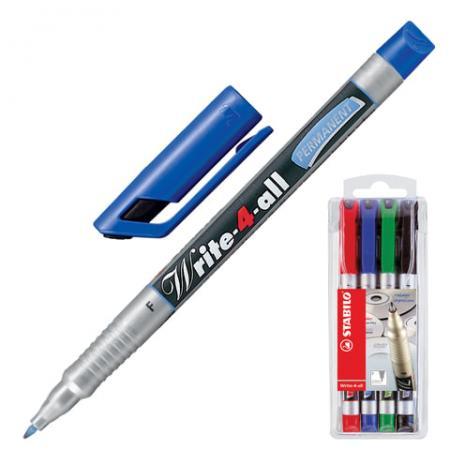 Набор маркеров Stabilo 150938 0.7 мм 4 шт черный зеленый синий красный набор стяжек hyperline gt 160m 160x2 5мм 500шт 100 белый 100 красный 100 зеленый 100 желтый 100 черный