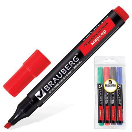 Набор маркеров перманентных BRAUBERG 150473 1-5 мм 4 шт синий зеленый черный красный