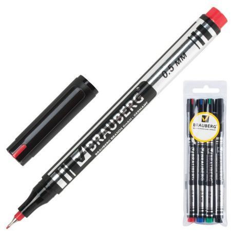 Набор маркеров перманентных BRAUBERG 150511 0.5 мм 4 шт черный синий зеленый красный виброхвосты lucky john tioga цвет желтый красный черный длина 51 мм 10 шт