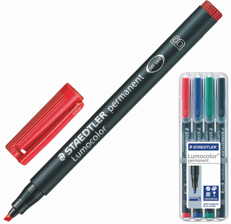 цена на Набор маркеров перманентных Staedtler Lumocolor 1-2,5 мм 4 шт ассорти
