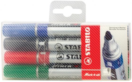 Набор маркеров перманентных Stabilo Mark 4 шт черный зеленый синий красный набор стяжек hyperline gt 160m 160x2 5мм 500шт 100 белый 100 красный 100 зеленый 100 желтый 100 черный