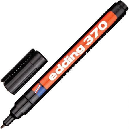 Маркер перманентный (нестираемый) EDDING 370, круглый наконечник, 1 мм, черный, E-370/1 edding маркер перманентный e 390 1 35738