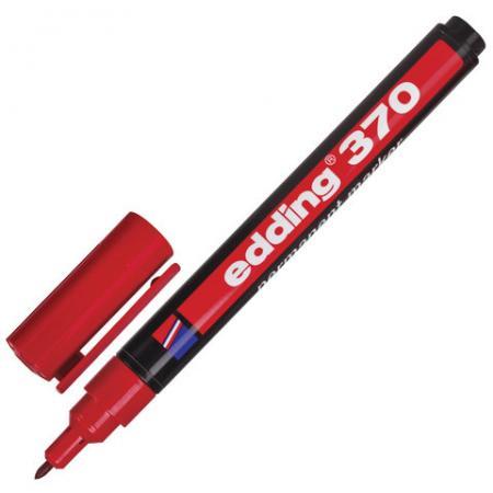 Маркер перманентный (нестираемый) EDDING 370, тонкий наконечник 1 мм, красный, E-370/2 edding маркер перманентный e 390 1 35738