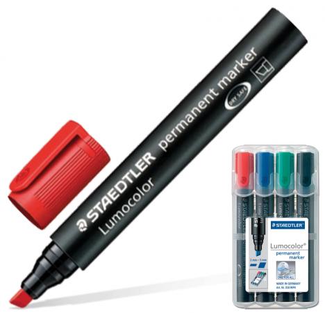Набор маркеров перманентных Staedtler Lumocolor 2.5 мм 4 шт синий зеленый черный красный виброхвосты lucky john tioga цвет желтый красный черный длина 51 мм 10 шт