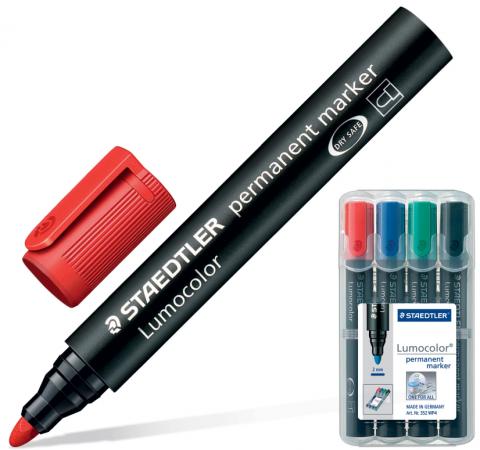 Набор маркеров перманентных Staedtler Lumocolor 2 мм 4 шт синий зеленый черный красный виброхвосты lucky john tioga цвет желтый красный черный длина 51 мм 10 шт