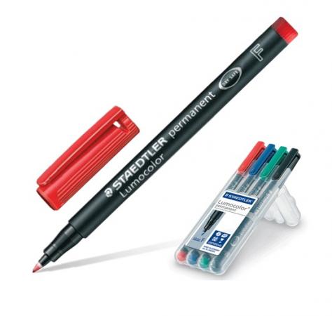 Набор маркеров перманентных Staedtler Lumocolor 0.6 мм 4 шт синий зеленый черный красный виброхвосты lucky john tioga цвет желтый красный черный длина 51 мм 10 шт