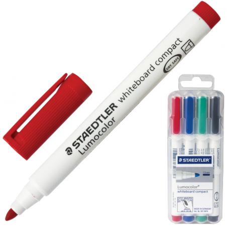 """Набор маркеров для доски Staedtler """"Lumocolor"""" 1-2 мм 4 шт синий зеленый черный красный"""