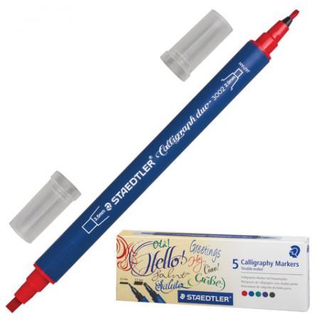 Набор маркеров каллиграфичеких Staedtler 3002 C5 02 2 мм/3,5 мм 5 шт ассорти